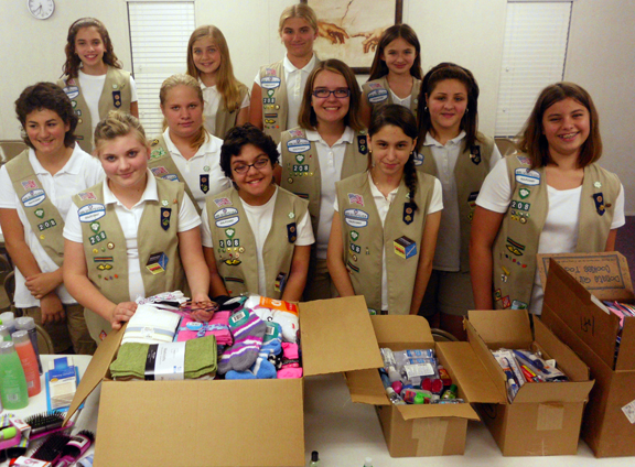 Troop 208 with donations to send to NY