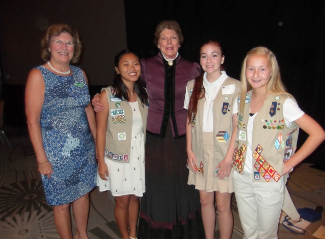 (L to R) Sue Stewart, Ellie, Susan B. Anthony, Emily and Bekah at Women's Equity Day Luncheon