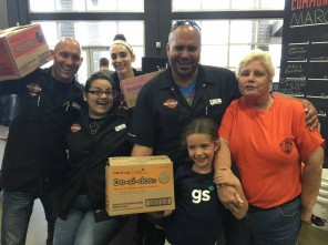 donation to Harley Davidson our newest partner where she got the most donated boxes