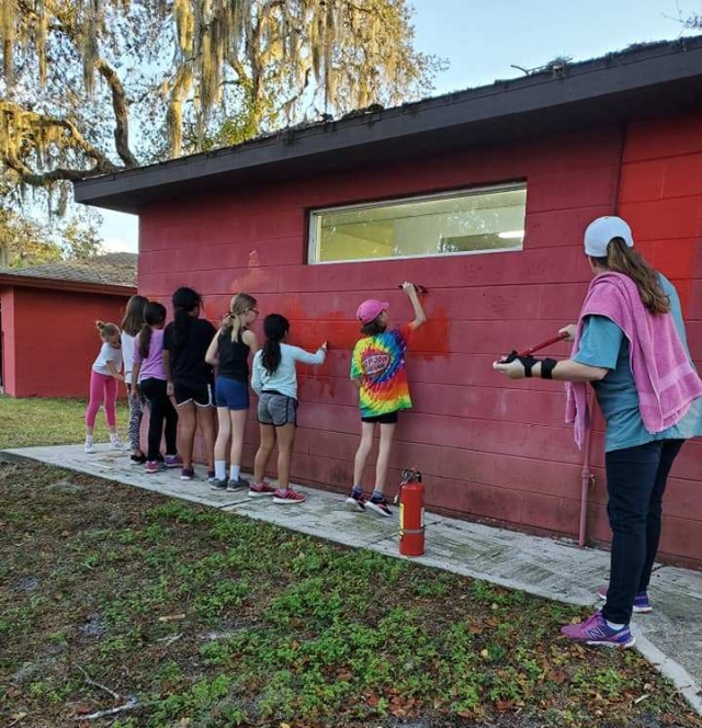 Hoin Hanta Service Project TAP - Troop 42 painting Armadillo Bathhouse